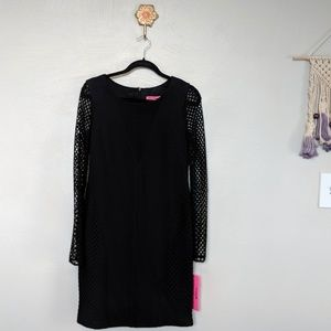 Betsey Johnson black dress with mesh sleeves, NWT
